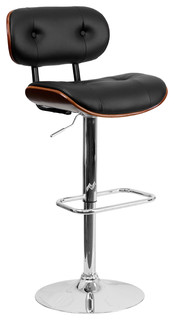 Bentwood Adjustable Bar Stool Black and Walnut