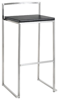 Genoa Leather Stool Black Bar Height