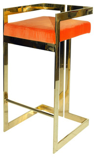 Worlds Away Linear Barstool With Brass Base and Orange Velvet Cushion