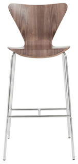 Tendy Bar Stools Set of 2 Walnut Chrome