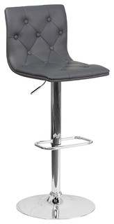 Tufted Vinyl Adjustable Bar Stool With Chrome Base Gray