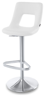 Jazz Adjustable Height Swivel Armless Barstool White