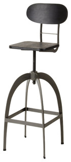 Modrest Elgin Bar Stool Black and Gunmetal