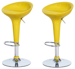 Joveco Stylish Colorful Swivel Adjustable Bar Stools Set of 2 Yellow