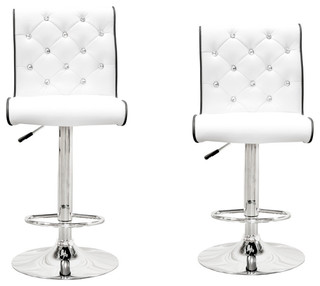 Christie Swivel Bar Stools With Crystals Set of 2 White