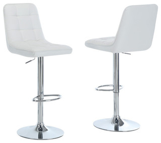 Chrome Metal Hydraulic Lift Bar Stools Set of 2 White