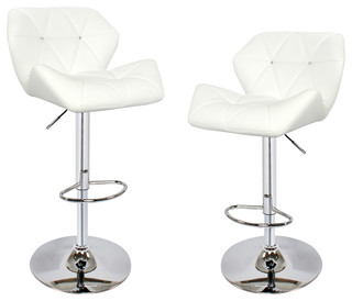 Twilight Adjustable Height Swivel Leather Bar Stools Set of 2 White