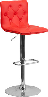 Contemporary Tufted Adjustable Height Barstool Red