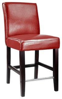 CorLiving Antonio 25 quot Bonded Leather Counter Stool in Red
