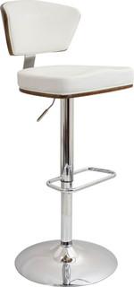 Ravinia Height Adjustable Barstool With Swivel Walnut Wood White