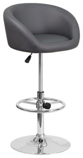 Flash Furniture Faux Leather Adjustable Bar Stool Gray