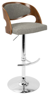 Pino Mid Century Modern Barstool With Swivel Walnut And Gray