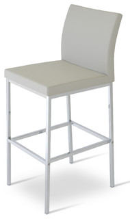 Aria Chrome Counter Stool Light Gray Seat Material Leatherette
