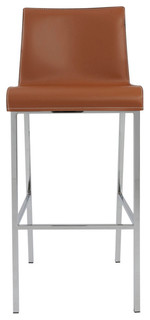 Cam Bar Stools Set of 2 Cognac and Chrome
