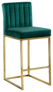 Giselle Velvet Stool Green Gold Base