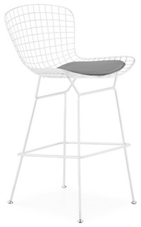 Wireback Counter Stool White Frame Gray