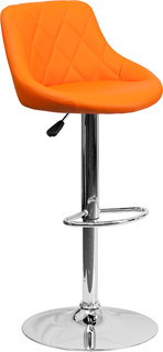 Bucket Seat Adjustable Height Barstool With Chrome Base Orange