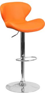 Contemporary Orange Vinyl Adjustable H Barstool With Chrome Base