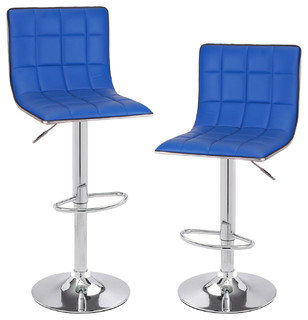 Leatherette Grid Pattern Adjustable Bar Stool Chairs Set of 2 Blue