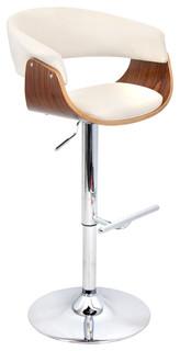 Vintage Mod Height Adjustable Barstool With Swivel Walnut Cream