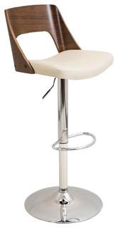 Valencia Height Adjustable Mid Century Modern Barstool With Swivel Cream