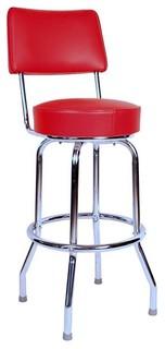 Swivel Barstool With Back Chrome Frame Red