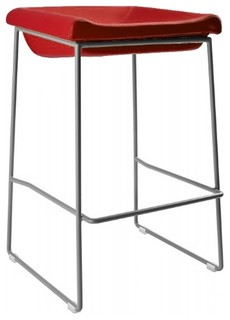 Leather and Stainless Steel Gravity Stool Red Counter Height