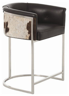 Arteriors Home Calvin Leather and Hide and Polished Nickel Low Bar Stool 2763