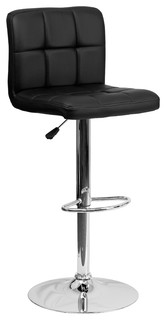 Nembus Quilted Adjustable Stool With Chrome Base Black