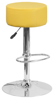 Contemporary Vinyl Adjustable Height Bar Stool With Chrome Base Yellow
