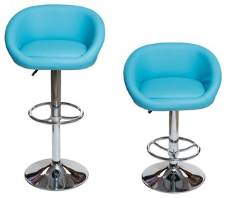 Ixir Home Modern Adjustable Swivel Hydraulic Bar Stool Set of 2 Turquoise