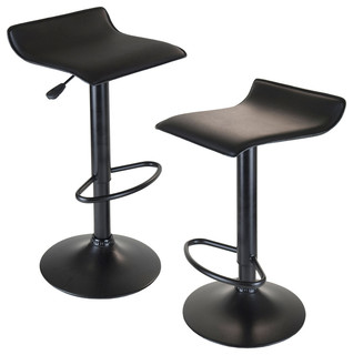 Winsome Wood 20239 Obsidian Airlift Stool Swivel Backless Black Seat and Base
