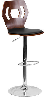 Walnut Bentwood Adjustable Height Bar Stool Black Vinyl Seat and Cutout Back