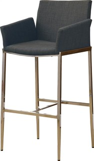 Upholstered Bar Stools Charcoal Set of 2