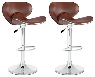 Curved Form Fitting Adjustable Bar Stool Brown Leatherette Set of 2