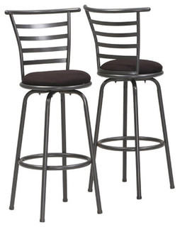 Barstools Set of 2 43 quot H Swivel Silver Gray Metal