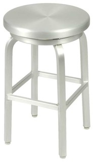 Euro Style Miller Swivel Counter Stool in Matte Aluminum