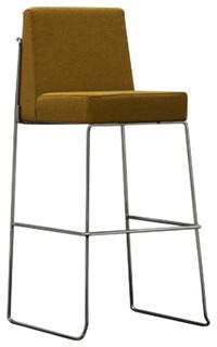 Kalida Upholstered Barstool With Iron Skid Base