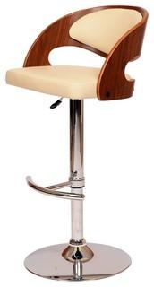 Armen Living Malibu Swivel Barstool in Cream PU Walnut Veneer and Chrome Base