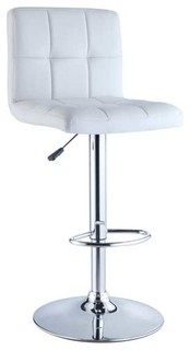 Quilted Faux Leather and Chrome Adjustable Height Bar Stool White