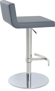 Dallas Piston Stool Leatherette Seat T Foot Rest Chrome Round Base Gray