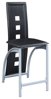 Metal amp Faux Leather High Chair With Eyelet Design Black Set of 2