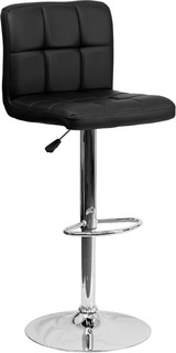 Quilted Vinyl Adjustable Height Barstool With Chrome Base Black