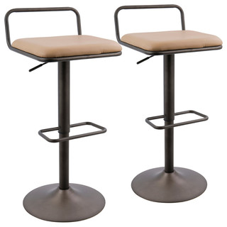 Beta Bar Stool Set of 2 Antique and Camel PU Leather