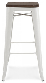 Dreux Stackable Steel Bar Stools Set of 4 Glossy White