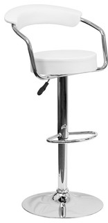 Contemporary Adjustable Height Barstool With Chrome Base White