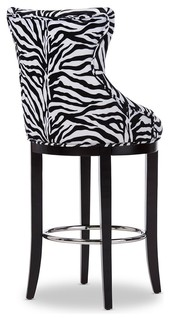 Patterned Fabric Upholstered Bar Stool With Metal Footrest