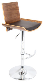 Vittorio Height Adjustable Mid Century Modern Barstool With Swivel Walnut Brown