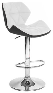 Spyder Adjustable Bar Stools Set of 4 Black and White