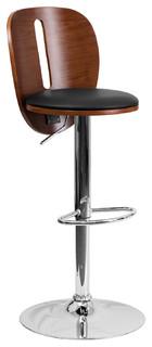 Walnut Bentwood Bar Stool With Black Vinyl Seat